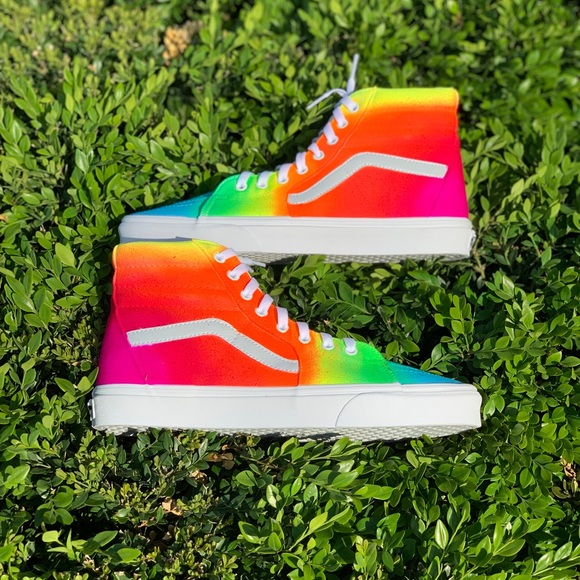 Vans Shoes | Custom Rainbow Vans | Poshmark